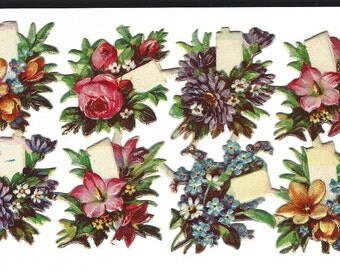 Antique German Paper Scrap Die Cut Floral Bouquets with Blank Tag 18 pieces