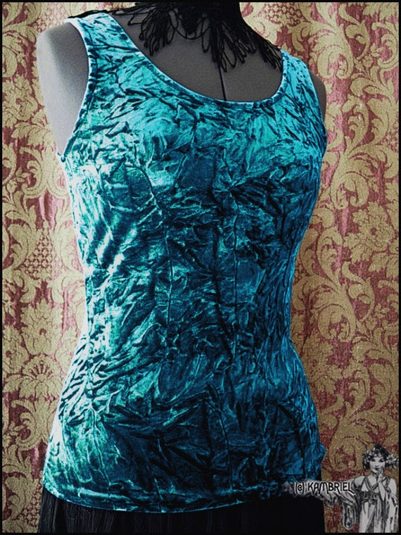 Peacock Teal Blue Crushed Stretch Velvet Sleeveless Top by Kambriel - Brand New & Ready to Ship