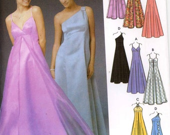 Evening grad bridesmaid dress pattern for 4 styles of evening dresses Simplicity 5096 Bust 30 1/2 to 32