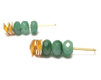 Bridesmaid gift, Green Aventurine earrings, gold earrings, gemstones earrings, stone jewelry, 18k gold plated sterling silver hook, iomiss