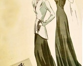 1940s Art Deco Evening Dress Gown with Long Jacket Vogue Couturier Design Pattern 355 Vintage Sewing Pattern Womens Size 16 Bust 34