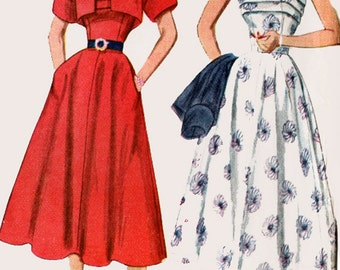 1950s Bare Shouldered Dress & Bolero w/ Wide Flare Cuffs Simplicity 8389 50s Vintage Sewing Pattern Size 14 Bust 32 UNCUT