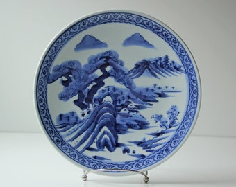 Vintage Japanese Meiji Era Ko - Imari porcelain plate blue and white landscape