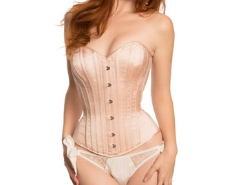 Brigitte silk satin corset- blush pink overbust corset, bridal wedding corsets, steel-boned corsetry retro vintage style ballet silk corset