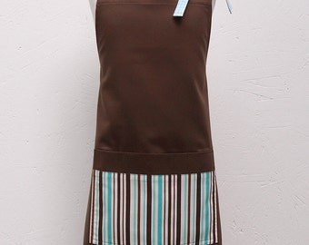 Audrey Apron for Girls - Turquoise Stripes