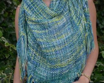 10% MOTHERSDAY code - Handwoven shawl - fine Merino, triangular shawl
