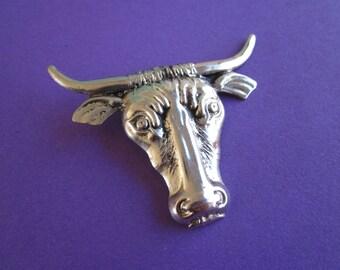 SALE Vintage Longhorn Bull Brooch