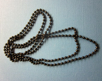 Black 2mm Metal Ball Chain Necklace