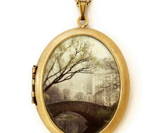 Photo Locket - Fairytale of New York - Central Park New York Photo Locket Necklace