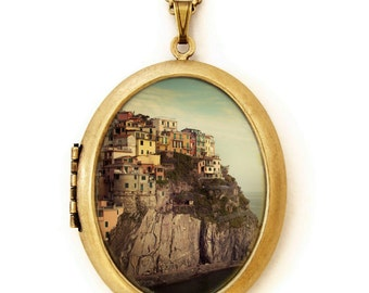 Photo Locket - Postcard From The Edge - Italy Travel Photo Locket Necklace