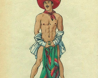 Mexican Pin-Up 3 Felix dEon Limited Edition Print Drawing Gay Male Art Gay Love & Romance