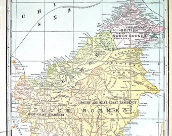 Map of Borneo, Map of Java - 1901 Antique Map - Book Page from World Atlas - 14 x 12