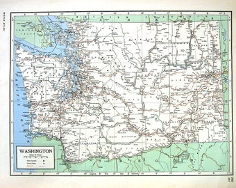 Map of Washington, Map of West Virginia -  US State Map - 1947 Large 2 Sided Book Plate from Vintage World Atlas