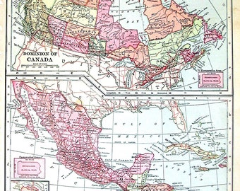 1902 Antique Map - Map of the Dominion of Canada, Mexico Central America and West Indies - Antique History Book Page - 12 x 10