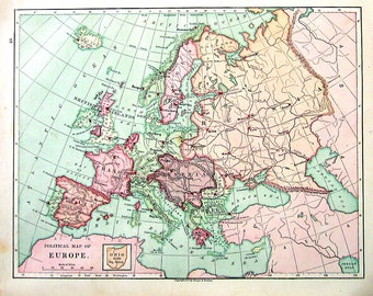 1875 Antique Map Ilustration - Political Map of Europe - Antique Geography Book Page - 12 x 10