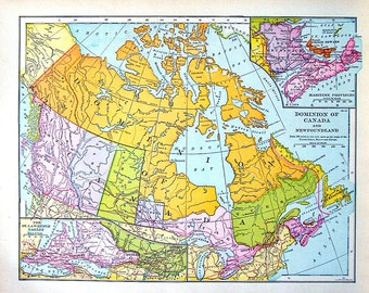 Dominion of Canada Map  - Antique Map 1907 Book Page from World Atlas - 12 x 10