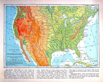 United States Map  - Antique Map Vintage Map 1907 Book Page from World Atlas
