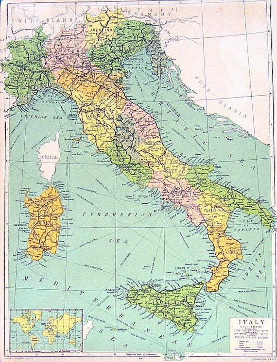 Vintage Map Map Of Italy Map Of Spain And Portugal - Portugal italy map