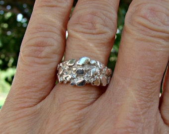 70% OFF Going Out of Business Sale.. Last One..Silver Nugget - Sterling Silver Ring- Size 8.5