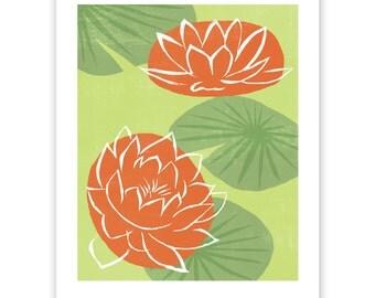 Water Lilies Block Print Art Reproduction