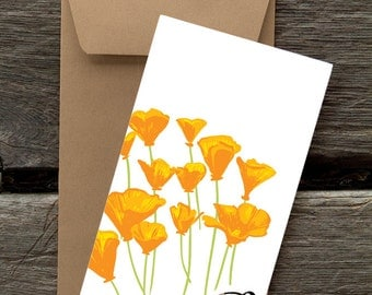 Quail and Poppies -- 8 Blank flat cards and envelopes
