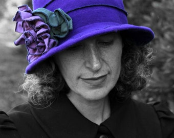 Edwardian Hat - Organic Cotton and hemp Jersey - All Seasons - Purple - Mabel Rose