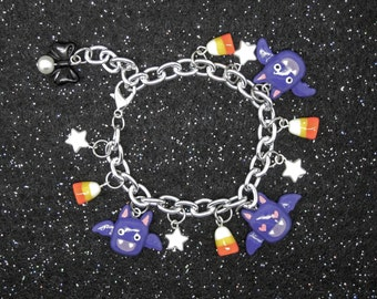 Halloween Bat and Candy Corn Spoopy Pearl Charm Bracelet
