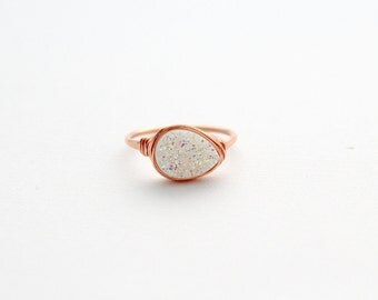 Druzy Ring , Opal White Teardrop Gemstone Quartz Statement Ring , Modern Gemstone Ring in Gold , Rose , Silver - Confetti Cream