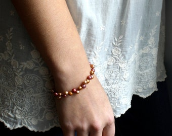 Multicolor Pearl Bracelet Beaded . Simple Pearl Bracelet . Autumn Jewelry . Copper Pearl Bracelet - Namaste Collection