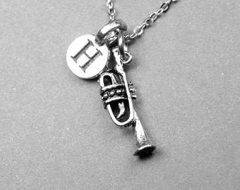 Trumpet Necklace, Trumpet charm, brass instrument, musical instrument, musician, personalized jewelry, initial necklace, monogrammed letter