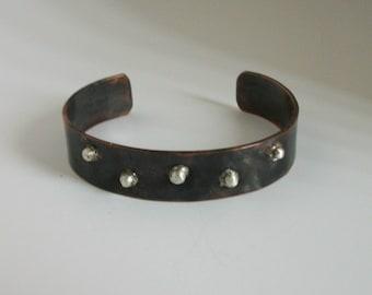 Blackened Copper Bracelet with silver granules - copper jewelry - copper bracelet - mixed metal cuff -rustic bracelet