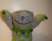 Zombie Cat Sock Animal with Green Skulls & Peace