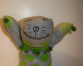 Zombie Cat Sock Animal with Green Skulls & Peace Signs