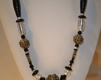 Tibetan Bead Necklace with Vintage Tibetan Silver Beads, Crystal Beads, Black Beads Long Necklace