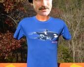 vintage 80s t-shirt SEA WORLD orca killer whale neon tee Small san diego