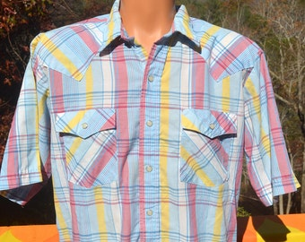 vintage 70s WESTERN shirt plaid short sleeve button down pearl snaps Large Tall cowboy 80s