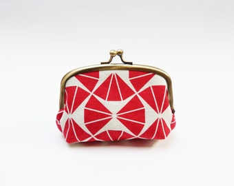 Coin purse, red and cream, geometric print, cotton pouch