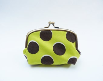 Green and brown cotton oversize polka dot coin purse