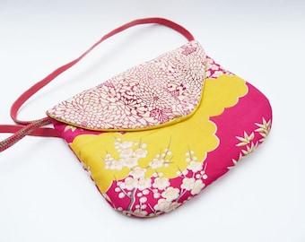 Pink and yellow vintage kimono fabric handbag