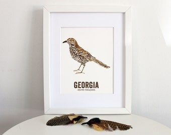 Nature inspired illustrations for outdoor by woodenpencilco georgia state bird nature art outdoor art vintage map art art print sciox Image collections