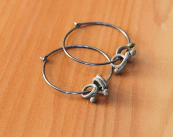 Oxidized Sterling Silver Hoop Earrings with Verdigris Copper Curls - Spatter // A257