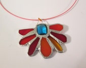 SALE - Stained Glass Pendant with Rich Crystal Center - Sparkling Turquoise - Hot Springs