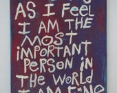 Most important Person In The World Word Art Painting on Canvas Folk Artist NayArts - Painter of Words