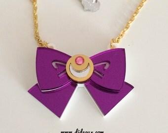 Sailor moon bow purple mirror laser cut necklace