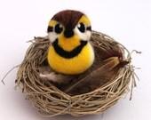 Meadowlark Needle Felted Bird