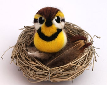 Meadowlark Needle Felted Bird