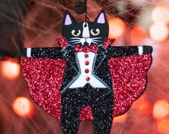 Count Catula Original Clay Halloween Folk Art Ornament