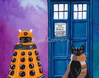 The Doctor and the Dalek - Cat Folk Art Print 8x10, 11x14