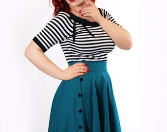 BETTY_13 6-Button circle skirt TEAL