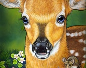 Baby Deer Print Fine Art Fawn Illustration